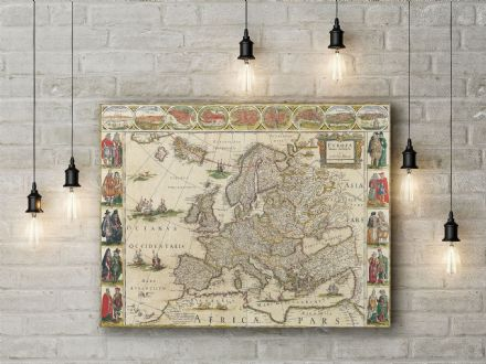 Willem Blaeu: Map of Europe . Fine Art Canvas.